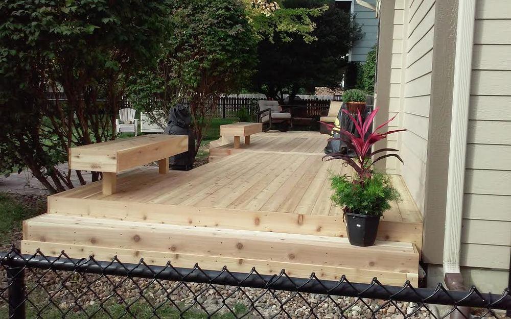 Simple Cedar Minimalist Deck with Seating