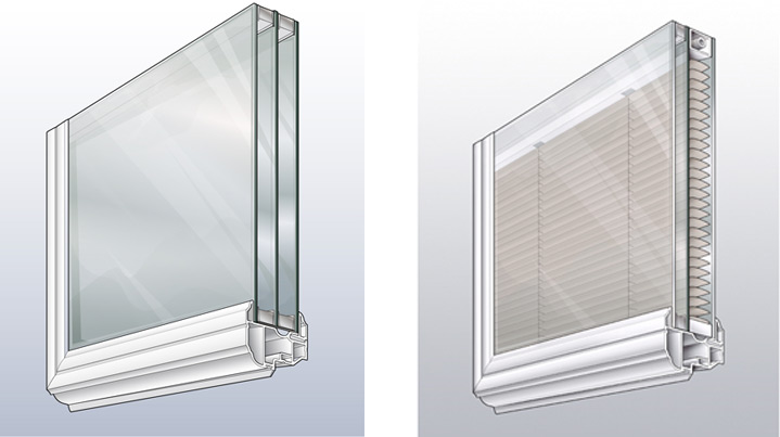 A typical double-paned window next to a between-the-glass blinds window.
